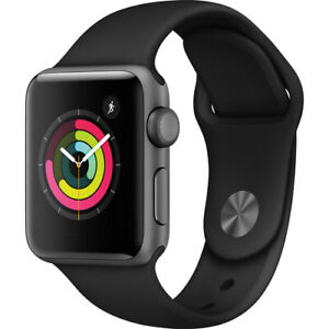 NEW Apple Watch Series 3 GPS 42mm Aluminum Black Case Black Sport Band MTF32LL/A