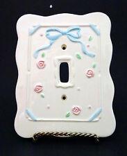 White Ceramic NURSERY DECOR Unisex Single Light Switch Plate Cover EUC