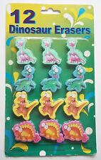 Pack of 12 Cute Dinosaur Erasers New