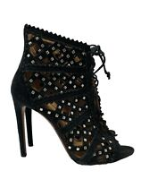 ALAIA BLACK SUEDE CAGE HEEL SANDAL BOOTIES WITH STUDS, 38, $1995