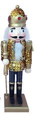 "Nutcracker Figure Soldier Glitzy Gold Sequin Jacket With Sparkle Gold 12"""
