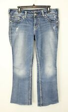 SILVER SUKI FLAP POCKET MID RISE STRETCH JEANS SIZE 32/32 (32/30)