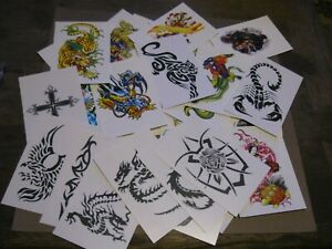 "Lot of 33 assorted Temporary tattoos  2.75"" x 4"""