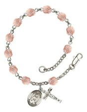 October Birth Month Bead Rosary Bracelet with Saint Lillian Petite Charm