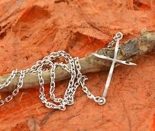 Side Cross Necklace-Sterling Silver-Ladies Fashion,Classic,Side Ways Cross,Charm