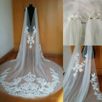 Cathedral Wedding Cape Bridal Jacket Cloak 3M Long Lace Shoulder Veil Plus Size