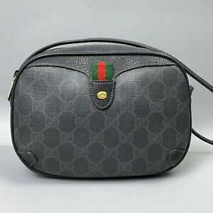GUCCI GG Monogram Web Sherry Line Small Bag Shoulder Cross Body Canvas Leather