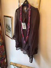 New Antik Batik Jody Kurta 100% Silk Boho Kaftan Smock Blouse Top,M/12