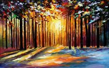 PRETTY OIL PAINTING WOODS/TREES/SUN PICTURE CANVAS WALL ART MEDIUM 20x30 INCHES