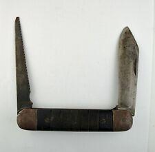 WWII PILOT SURVIVAL KNIFE UNITED G.R. MICH. Lock Pocket Folding 2-Blade US WW2
