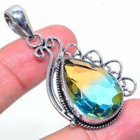 "Bi-Color Tourmaline Gemstone Handmade Ethnic Jewelry Pendant 2.17"" VS-371"