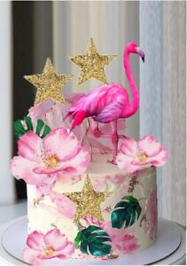 FLAMINGO CAKE  TOPPER, PAPER WITH FLOWERS