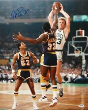 Magic Johnson Autographed Lakers 16x20 In Air Against Larry Bird Photo- PSA/DNA