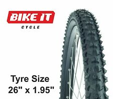 "ECONOMY HYBRID CYCLE TYRE 26"" x 1.95 BLOCK TREAD MOUNTAIN BIKE BICYCLE XC TYRE"