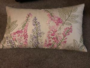 Laura Ashley Bolster Rectangular Cushion Pink  Purple Floral Embroidery Silk Rib