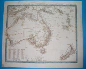 1860 NICE ORIGINAL MAP AUSTRALIA NEW ZEALAND NEW SOUTH WALES SYDNEY MELBOURNE