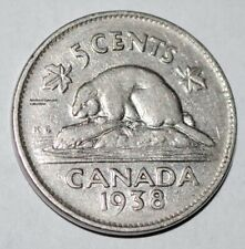 Canada 1938 5 Cents George VI Canadian Nickel