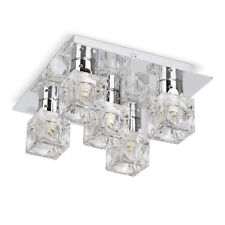 Modern Flush Silver Chrome  Glass Ice Cube 5 Way Ceiling Light Fitting Lights