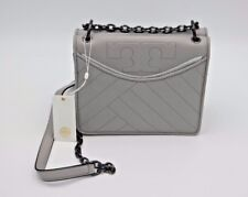 NWT Tory Burch Alexa Gray Quilted Leather Logo Chain Convertible Shoulder Bag