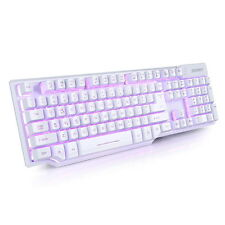 Gaming Tastatur Mechanisch PC Farbe Beleuchtet 104-Tasten USB Gamer Keyboard