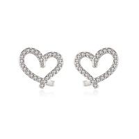 925 Sterling Silver Hollow Heart Stone Stud Earrings Womens Girls Jewellery Gift