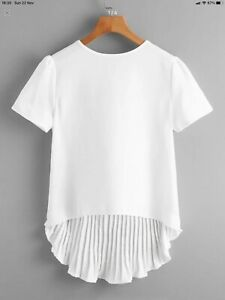 Shein Dip Hem Off White/cream Pleated Back Shirt/blouse/T-shirt/casual  Size 16