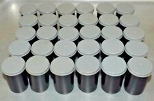 n) 30 x Black Film Canisters, Pots, Tubs with Gray Lids - Geocaching, Loom Bandz