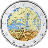 2 Euro Gedenkmünze Italien 2008 coloriert mit Farbe /  Farbmünze Menschenrechte