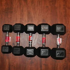 10 15 20 25 30 lb Pound Rubber Coated Hex Dumbbell Singles 100 lb SET Bundle