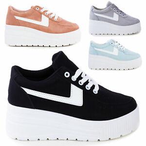Sneakers donna scarpe ginnastica eco pelle zeppa platform stringate P9XX0058-7