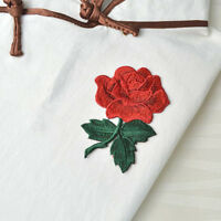 2 Pcs Rose Blossom Flower Applique Clothing Embroidery Patch Fabric Sticker