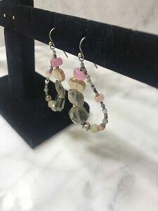 SILPADA Sterling Silver Chalcedony Smoky Quartz Glass Dangle Earrings W2158