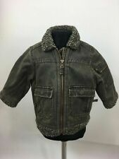 Boy's Infant's Monsoon Brown Cotton Blend Zip Up Fur Lined Jacket Age 12-18 Mth