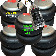 """set of 5 air ride springs lift bags 2"""" Taller 2600 D-II  3/8"""" Fittings 7-Switch"""