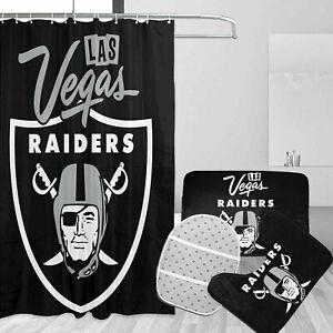 Las Vegas Raiders 4PCS Bathroom Rug Set Shower Curtain Bath Mat Toilet Lid Cover