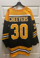 "Gerry Cheevers "" HOF 1985 "" Signed Boston Bruins Jersey AUTO Sz XL LEAF COA"
