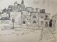 Karl Adser 1912-1995 Stadtansicht Häuser Kleine Gasse Kirche Spanien 1955