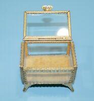 Vtg Stylebuilt Gold Filigree Ormolu Beveled Glass Casket Jewelry Box Rare Mini