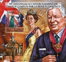 Central African Rep 2015 MNH Charlie Chaplin Knighthood Queen Elizabeth II 1v SS