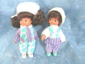 Lot de 2 poupées Famille Glady Delavennat vintage de 1987 taille 14 cm tbe