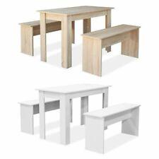 vidaXL Mesa de Comedor Cocina y Bancos 3 piezas Madera Aglomerada Blanca/Roble