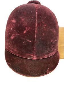 EQUI-ROYAL SADDLERY BURGUNDY VELVET RIDING SADDLE HELMET EQUESTRIAN HORSE Size 7