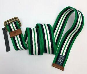 Polo Ralph Lauren Horizontal Striped Braided Belt Men Size Small Green/Wht NWOT