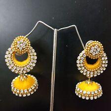 Yellow Silk Thread Handmade Fashion Indian Partywear Earrings Jhumka Jhumki