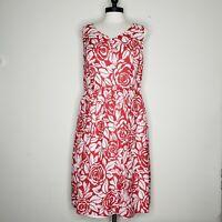 Talbots Summer Dress Sleeveless Red Floral Knee Length Size 10 Women's
