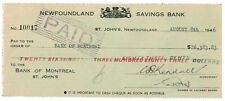 Newfoundland Savings Bank Cheque 1946  - rare high dollar amount