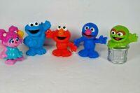 """2013 Sesame Street Workshop Hasbro 3"""" Plastic 5 figure lot"""