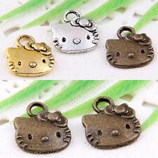 60pcs Tibetan Silver/Gold/Bronze Hello Kitty Cat Charms for Bracelets Pendants