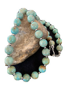 Native American Navajo Pearls Sterling Silver Royston Turquoise Necklace 01379