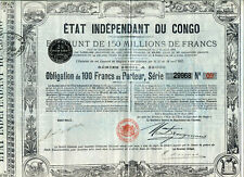 ÉTAT INDÉPENDANT du CONGO: Emprunt de 180 Millions de Francs (1888)
